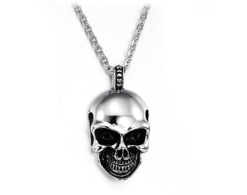 423c08e5f47c91 JewelryWe Gioielli Acciaio Inossidabile Collana con Pendente da uomo,  Cranio Gotico Teschio Sorridente