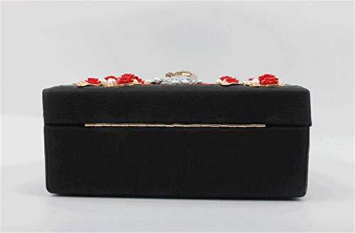 Rétro Brodée À La shop Boîte Square Diamant Serrure Épaule Pochette Main He Fleur Sac Slung Bandoulière Perle Petite A Rose tqSgw0A