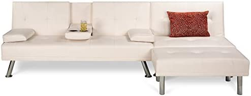 Best Choice Products Faux Leather Upholstery 3-Piece Modular Modern Living Room Sofa Sectional Furniture Set w/Convertible Single & Double Seat Futon Beds, Ottoman, Reclining Backrests - White