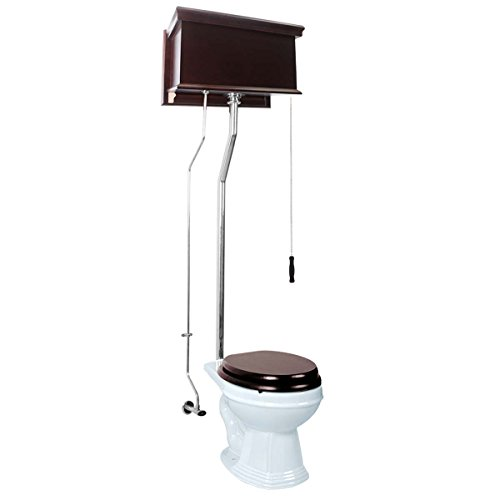 Renovator's Supply Dark Oak High Tank Pull Chain Toilet With White Round Toilet Bowl Chrome Finish Pull Chain Toilet