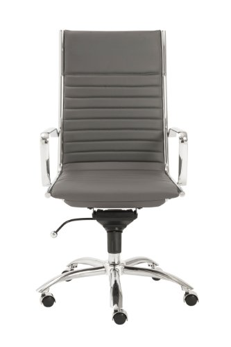 Modern Bungee Office Chair - Euro Style Dirk Leatherette Adjustable Office Chair with Chromed Steel Frame and Base with Arms, High Back, Gray