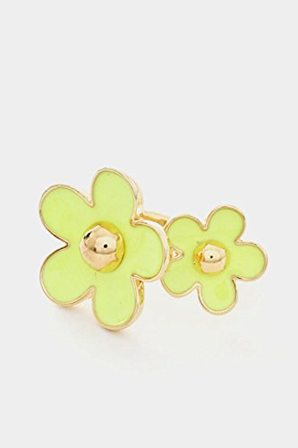 Trendy Fashion Jewelry Vivid Color Acrylic Flower Adjustable Ring By Fashion Destination | (Neon Yellow) (Tacori Prices Ring)