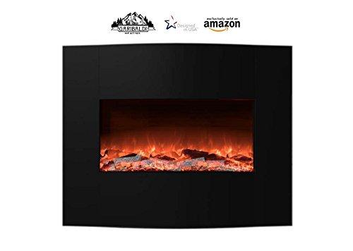 Garibaldi Electric Fireplace Heater 35-Inch Curved, Barricade Mounted, Log Flame, Black