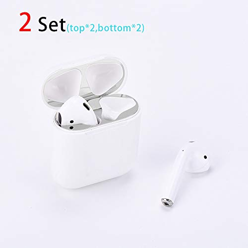 2 Set Dust Guard for Airpods & Airpods2,Metallic Stickers,18K Metal Plated,Luxurious Looking,Easy to Install and Remove,Protect AirPods from Iron/Metal Shavings (for Airpods 2, Silvery) ()