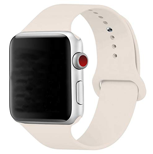 Band for Apple Watch 38mm, Guangzhi (Metal Tuck Clasp Ouside/Correct Wearing Way in 4th Image) Soft Silicone Sport Strap Band for iWatch Series 1/2 / 3, Sport, Edition,38mm,Antique White