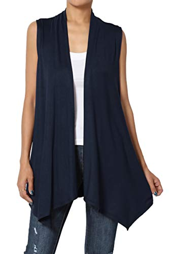 TheMogan Women's Sleeveless Waterfall Jersey Cardigan Asymmetric Vest Navy 3XL