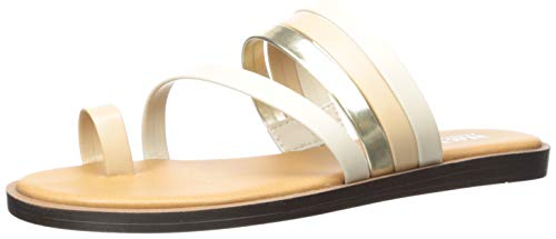 Kenneth Cole REACTION Women's Spring Toe Loop Flat Sandal, Taupe Multi, 8 M US