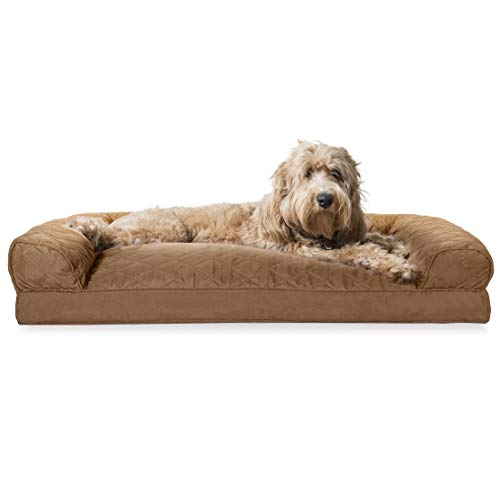 Furhaven Pet Dog Bed | Quilted Pillow Cushion Traditional Sofa-Style Living Room Couch Pet Bed w/ Removable Cover for Dogs & Cats, Toasted Brown, Large