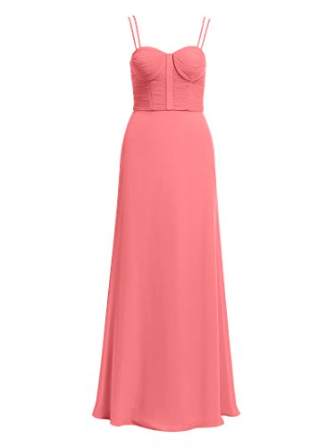 Evening Women's Chiffon Coral Prom Dress Straps Semi Formal Maxi Pleated Pink Gown Alicepub 5Yx4qP0w