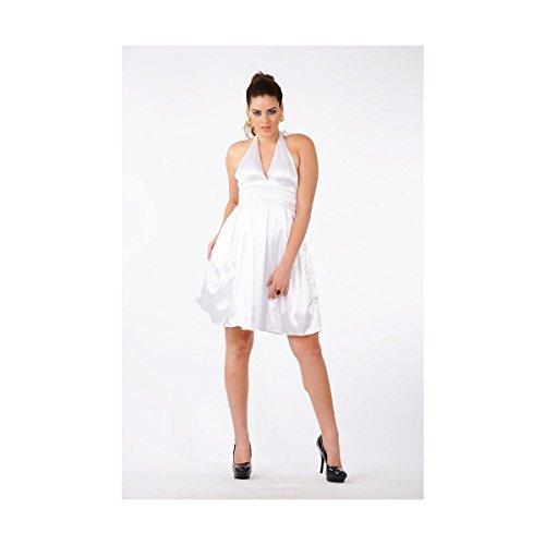 Gaile Halter Cocktail Knee Length Charmeuse White Dress ()