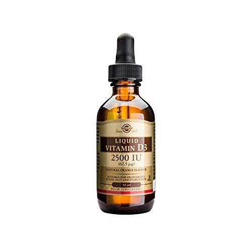 Solgar Liquid Vitamin D3 125 mcg (5,000 IU), 2 fl oz - Delicious, Natural Orange Flavor - Helps Maintain Healthy Bones & Teeth - Immune System Support - Gluten Free, Dairy Free, Kosher - 59 Servings