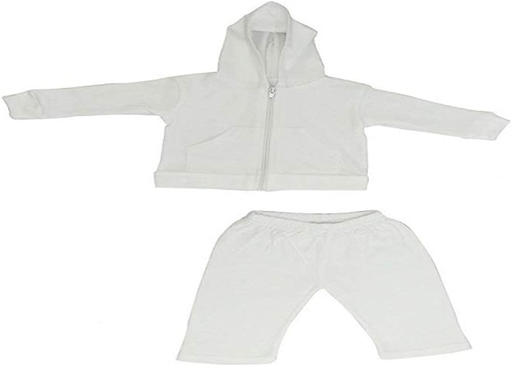 Bambini Baby Hoodie Pants Set White 100/% Cotton Pink Green Embroidery 27-34 Lb L