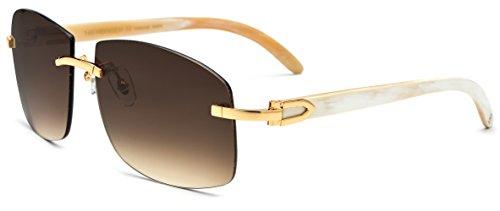 HEPIDEM Buffalo Horn Handmade Sun Glasses Square Rimless Luxury Sunglasses 0816 (white, 53) ()