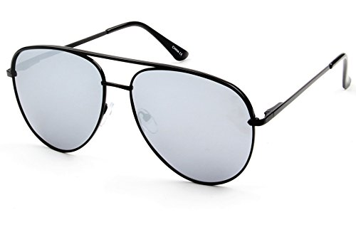 WealthyShades- Aviator sunglasses Mirrored flat lens   Oversized, Polarized For Women and Men UV400