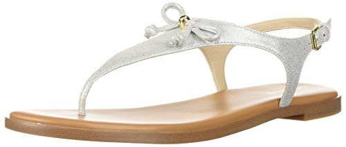 Cole Haan Flip Flops - Cole Haan Women's Findra Thong Sandal, Silver Shimmer Metallic Leather, 10 B US
