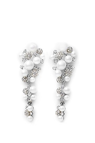 Cluster Dangle Earrings With Posts Crystal Faux Pearl Chandelier Drop Earring Set (silver, white, (Long Cluster Earrings)