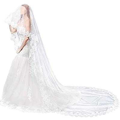 TINTON LIFE Wedding Bridal Veil Cathedral Lace Edge Womem's Long Appliques Veil 2 Tier, Light Ivory