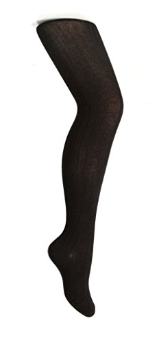 Zubii Girls Tights — Ribbed Footed Tights for Girls — Cotton Hosiery — Black — 2