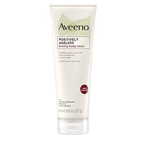 Aveeno Positively Ageless Anti-Aging Firming Body Lotion with Shiitake Mushroom complex & Wheat Protein, Lightweight & Non-Greasy Daily Lotion to Improve Skin Elasticity & Texture, 8 oz (2 Pack) (Best Lotion To Improve Skin Elasticity)