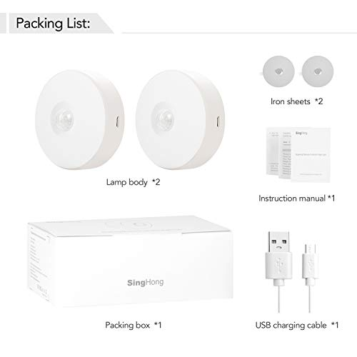 SingHong Motion Sensor LED Night Light, Kids Night Light, USB Rechargeable, 8 Lighting Colors, 3 Working Modes, for Bedroom, Hallway, Cabinet, Closet, Stairs, etc, Magnetic Stick Anywhere (2 Pack)