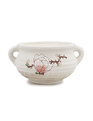 Dahlia Plum Blossom Hand Painted Ceramic Succulent Planter/ Plant Pot/ Flower Pot/ Bonsai Pot, (Dahlia Plum)
