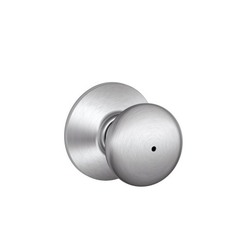 Privacy Chrome Knob (Schlage F40PLY626 Plymouth F40 Round Full Ball Door Knob Lockset, Unkeyed, Solid, Satin Chrome, Brass)