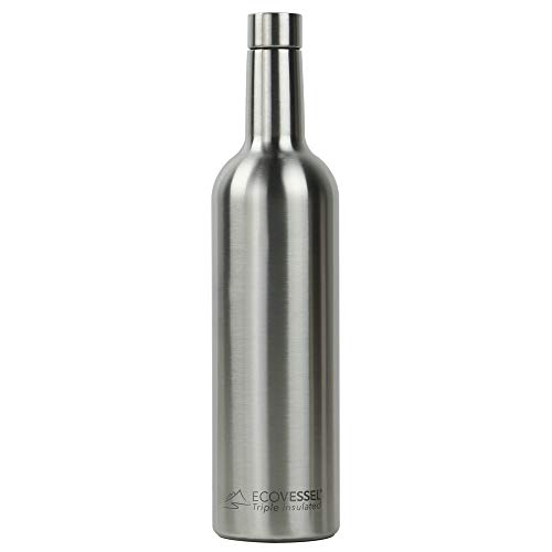 EcoVessel Vine TriMax Triple Insulated Stainless Steel Wine Bottle w/Silicone Funnel and Cleaning Brush - 750 mL - Silver Express