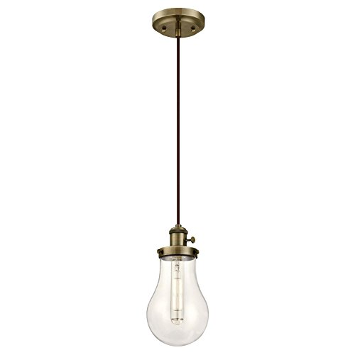 (Westinghouse Lighting 6338600 One-Light Indoor Mini Pendant with On/Off Turn Knob, Antique Brass Finish and Clear Teardrop Glass,)