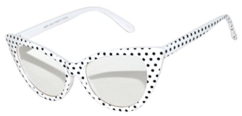 Vintage Cat Eye Clear Lens Eyeglasses White Dots Frame - Framed Eyeglasses White