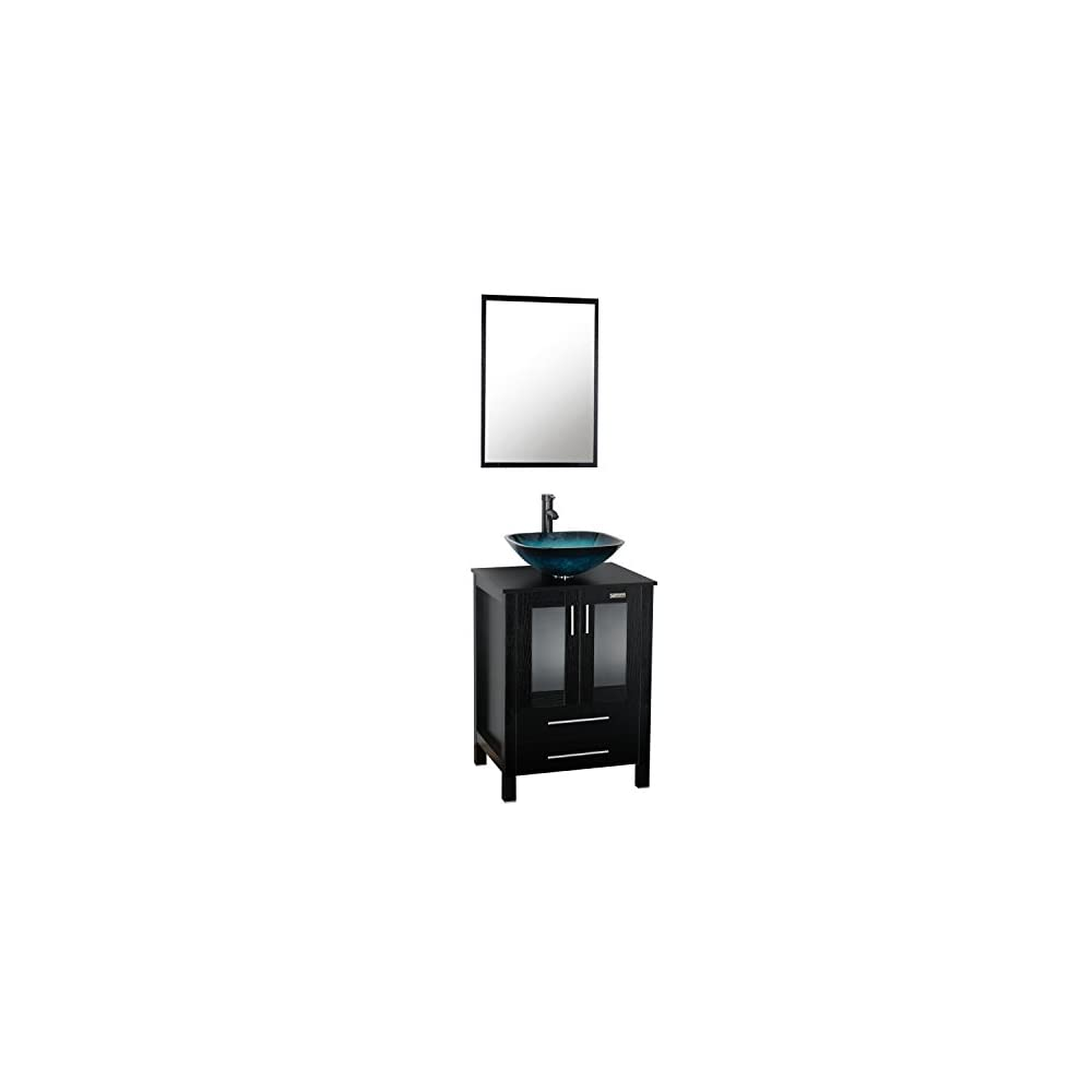 eclife 24'' Modern Bathroom Vanity and Sink Combo Stand Cabinet and Turquoise Square Glass Vessel Sink and 1.5 GPM…