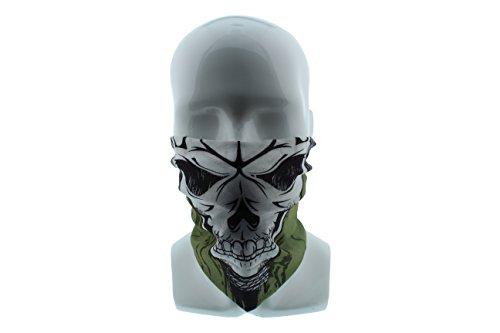 Redneck Convent Green and Black Skull Seamless Wide Tube Bandana Balaclava Face Mask for Men & Women – Paintball, Ski, Dust, Costume