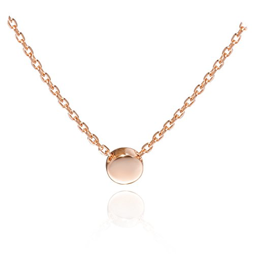 S.Leaf Sterling Silver Tiny Dot Necklace Ball Pendant Round Circle Pendant Necklace (Rose Gold)