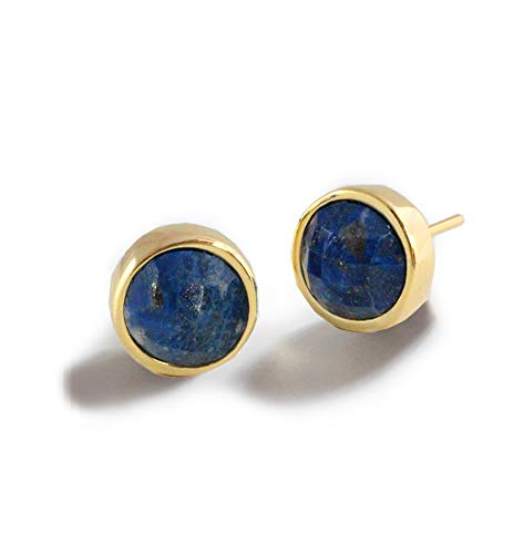 FIRE EAR STUDS 24K Gold Round Blue Denim Lapis Lazuli Gemstone Earrings 9mm | 3-Way Convertible | Hypoallergenic | Women Jewelry | Birthday Anniversary Valentines Day gifts for her ()