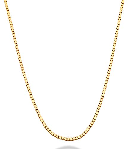MiaBella 18K Gold Over Sterling Silver Italian 2.2mm Square Venetian Mirror Box Link Chain Necklace for Men Women, 18