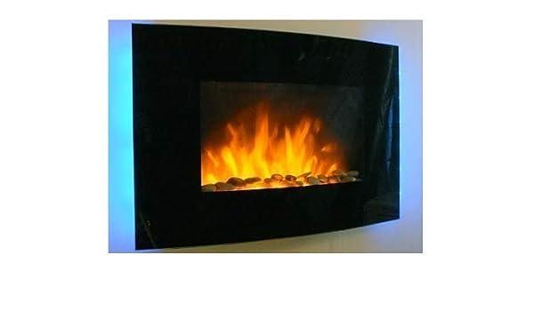 Tooltime - Estufa de pantalla para pared con efecto chimenea (cristal, 2 kW, 7 luces de fondo LED), diseño curvado, color negro: Amazon.es: Bricolaje y ...