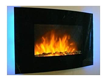 Tooltime - Estufa de pantalla para pared con efecto chimenea (cristal, 2 kW, 7 luces de fondo LED), diseño curvado, color negro: Amazon.es: Bricolaje y ...