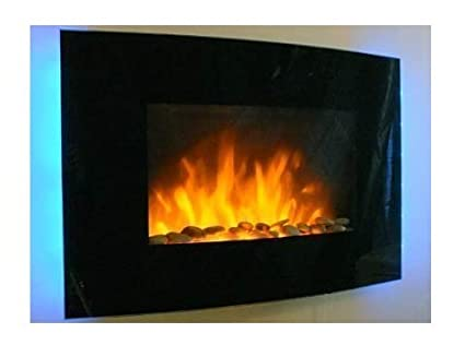 Fine Truflame 2Kw Black Curved Glass Screen Wall Mounted Fire Flame Effect Fireplace With 7 Colour Led Backlights Interior Design Ideas Gentotthenellocom