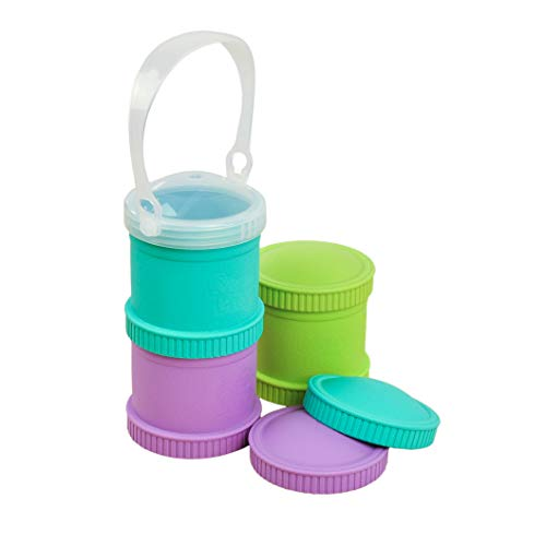 Re-Play Made in The USA 7 Piece Stackable Food and Snack Storage Containers for Babies, Toddlers and Kids of All Ages - Aqua, Green, Purple (Mermaid)