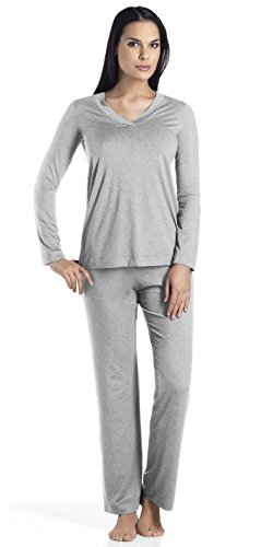 Hanro Women's Champagne Pajama Set Sleepwear, -grey melange, Medium