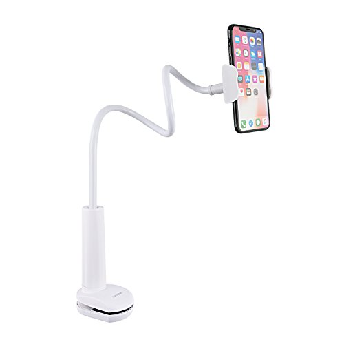 Tryone Gooseneck Phone Holder, Flexible Long Arm Mount Stand Compatible with Smartphones, Max Width 3in, Overall Length 27.5in(White)