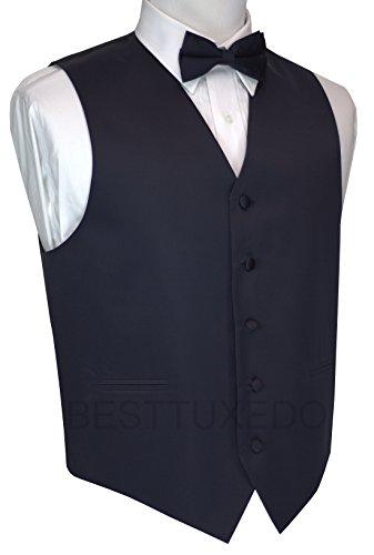 Men's Dress Vest & Bow Tie Pocket Square Set-Navy L