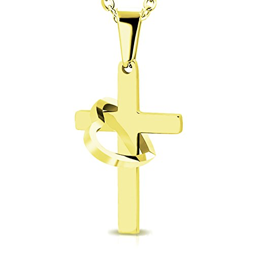Cut Out Faith Charm (Gold Plated Stainless Steel Interlocking Open Cut-Out Heart Love & Faith Cross Charm Link Chain Necklace Pendant)