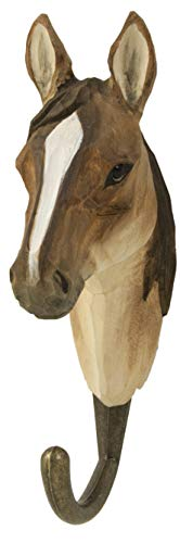 WILDLIFEGARDEN Hand-Carved Arabian Horse Hook, Sturdy Indoor/Outdoor Wood Wall Hook with Artisanal Life-Like Figurine, Easy-to-Install, Designed in - Horse Figurine Brown