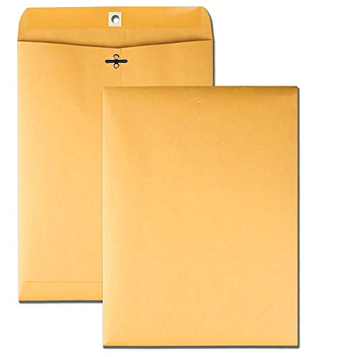 Clasp Envelopes - Brown Kraft Catalog Envelopes with Clasp Closure & Gummed Seal - 28lb Heavyweight Paper Envelopes - Great for Filing, Storing Or Mailing Documents - 25 Envelopes (9 x 12) ()