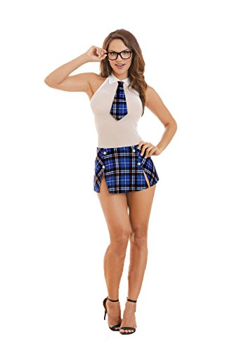 [Dreamgirl Women's Schoolgirl-themed Dress and Glasses, White/Blue, OS] (Pin Up Girl Costume Halloween)