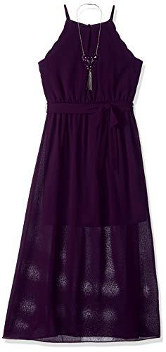 Amy Byer Girls' Big 7-16 Scalloped Edge Maxi Dress, Holiday Purple -