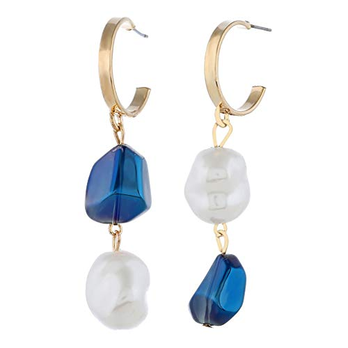Psunrise Pendientes Fashion Simple European and American Earrings Wild Ladies Fashion Pearl Jewelry(5.4x2.0cm, B) ()
