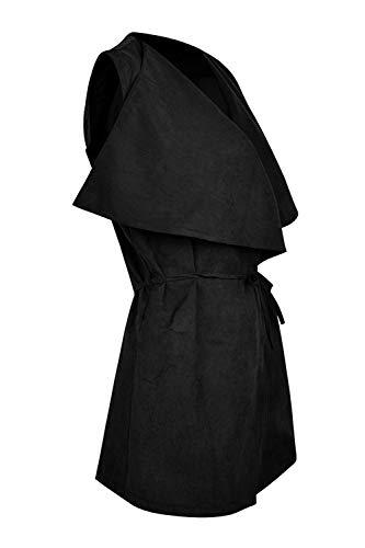 Noir Femme Musfeel Gilet Ol Surplice Ceinture Bodycon Avec High n8rrw5aRxq