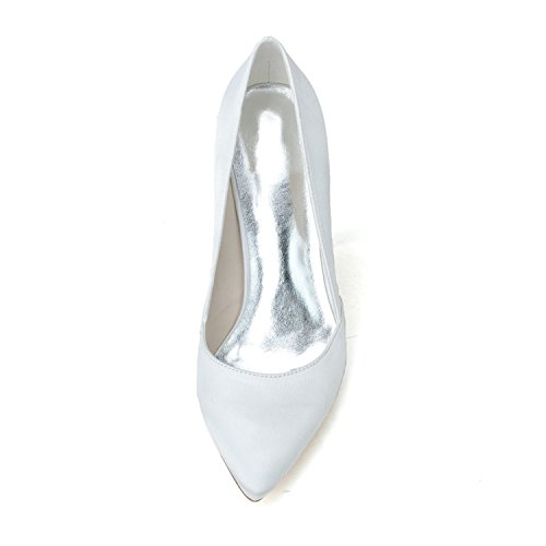 Clearbridal Women's Pointed Toe Stiletto Pumps Heels Satin Wedding Shoes and Prom Shoes ZXF0608-03 White Xi815PNg