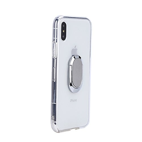 iPhone X Case with 360 Rotating Ring Grip Holder Kickstand Function Magnetic Base, Ultra Slim Thin Hard Scrub Cover with Shockproof Protective for Soft TPU iPhone X(Transparent)